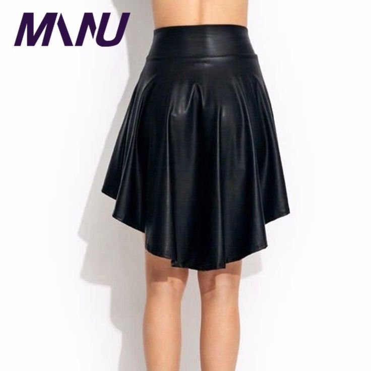 2017 manu leather skirt Plus Size 6XL 7xl asymmetrical skirt High Quality Women Sexy Black Flared  Pu Faux Leather Skirts