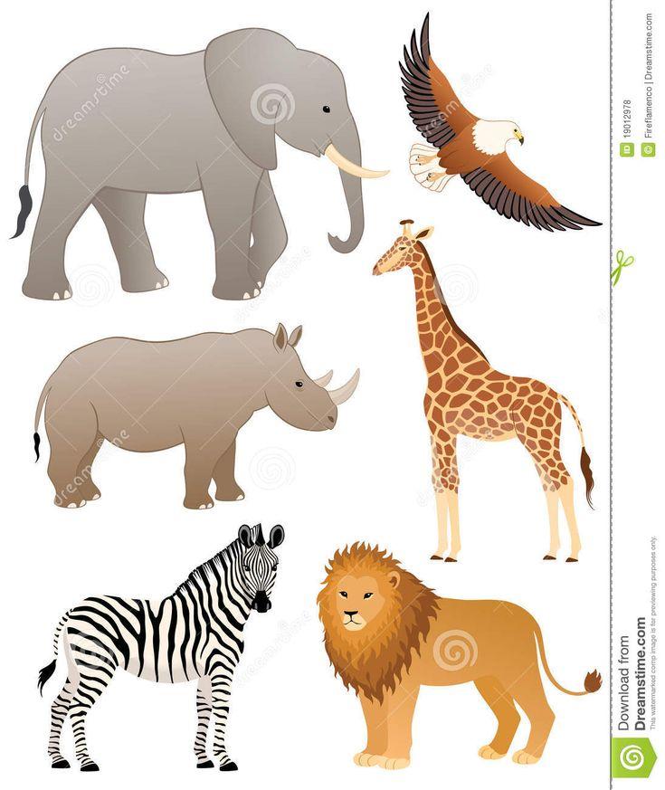 Animais africanos.  Ilustração: Fireflamenco.