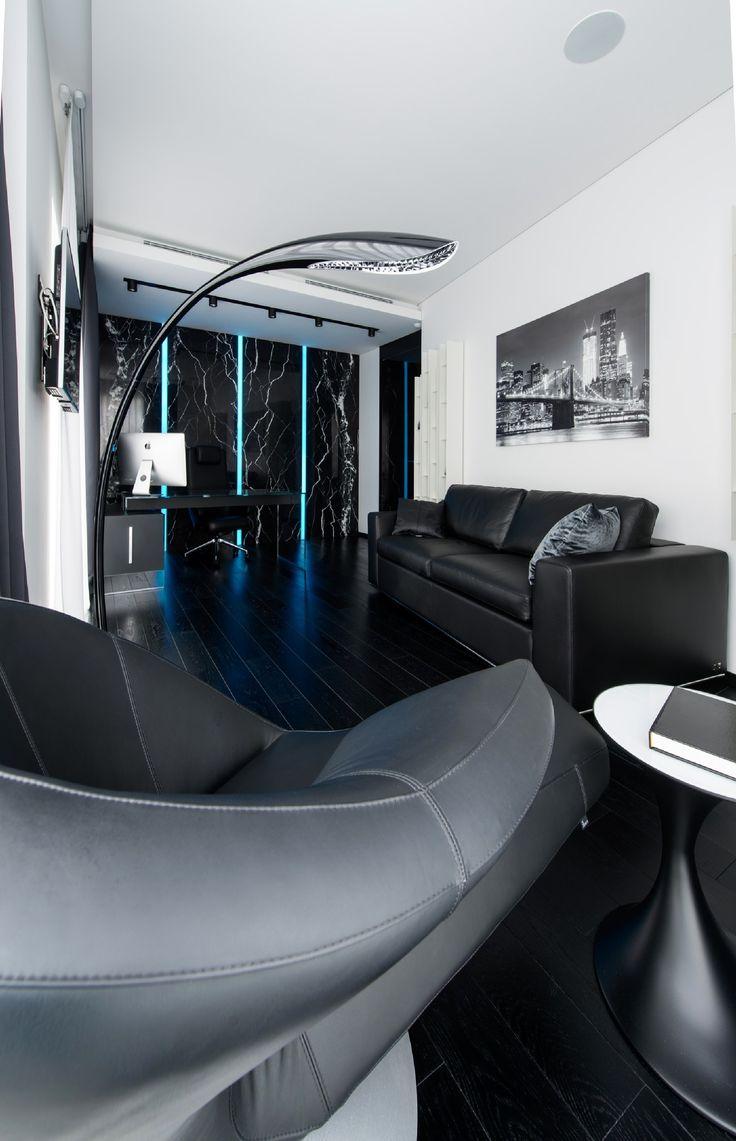 Этот чёрно-белый интерьер квартиры в Москве, разработанный студией Geometrix Design, является воплощением…