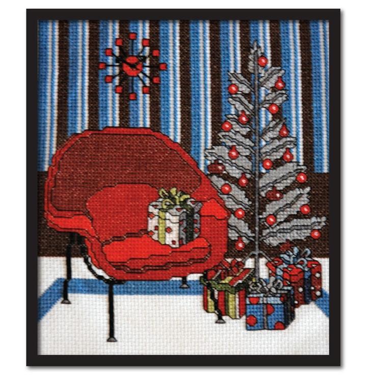 Counted Cross Stitch Pattern PDF Retro Modern Womb Chair Christmas. $6.50, via Etsy.