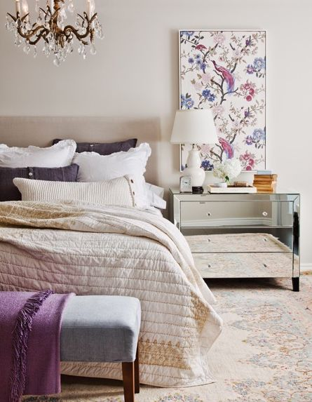 romantic and sophisticated, but not too formal: Bedrooms Makeovers, Mirror Furniture, Color, Bedrooms Design, Frames Fabrics, Design Bedrooms, Bedside Tables, Night Stands, Purple Bedrooms