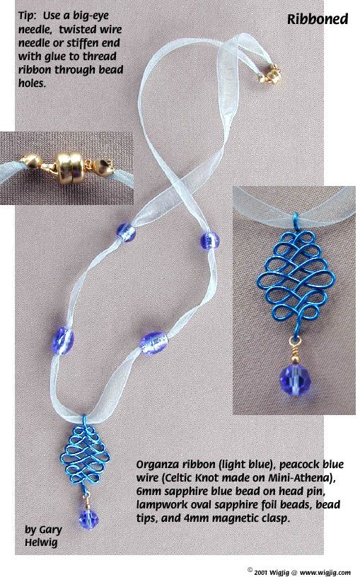 Ribboned Beads and Wire Necklace Jewelry Making Project made with WigJig jewelry tools and jewelry supplies.