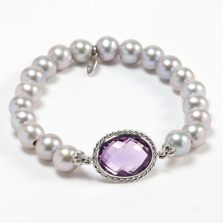 grey pearls and Amethyst gemstone
