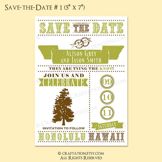 Custom Save the Date/Wedding Invitation Card Design - Tree/Rustic/Vintage Retro/Banner/Rings/Dots - Digital Printable Also Available