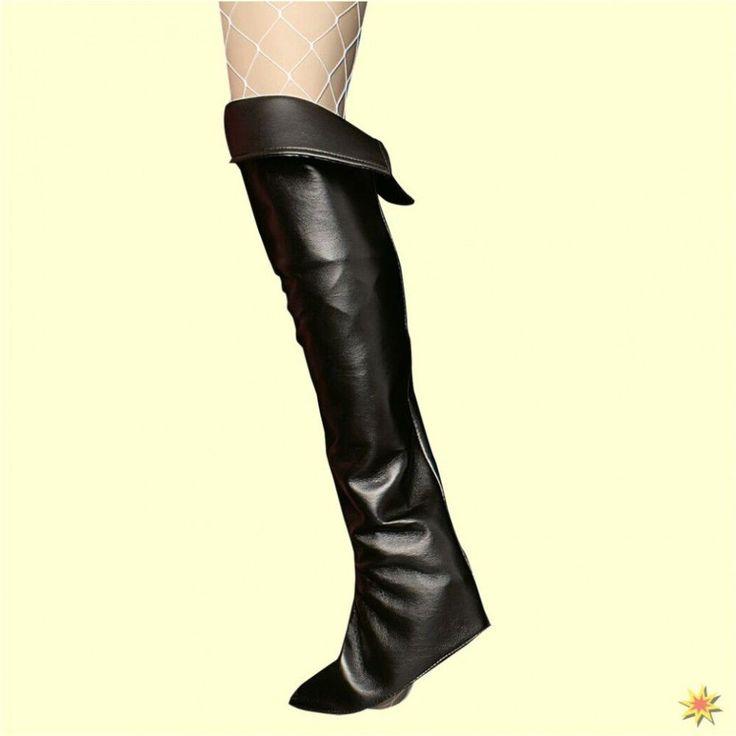Lederstulpen für Damen Overknees schwarz Schuhüberzieher Gamaschen Stulpen