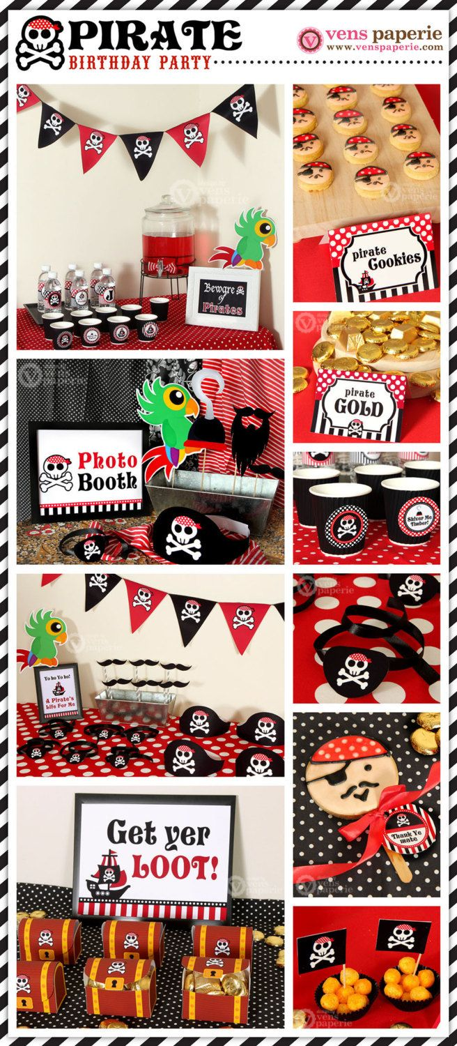 Red Pirate Birthday Party Package Personalized FULL by venspaperie