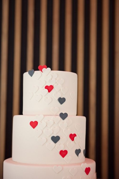 If there is a wedding cake, this is it; red velvet with cream cheese frosting and little hearts that have been cut out of fondant (white red and blue hearts).