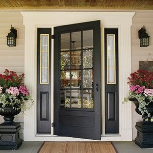 I love this door because its not entirely paned- stops just a foot or so above the floor, and I really love a well-chosen black paint on the right door. Looks classic, not creepy. I also love the side windows, really opens it up, and the gold trim- I like it too, unexpectedly