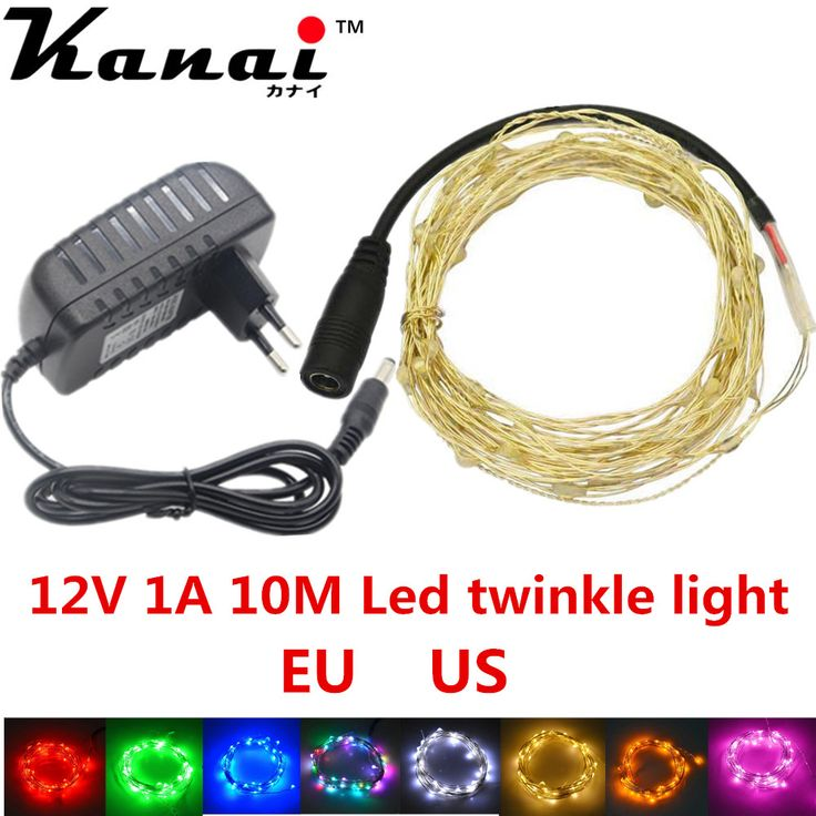 US EU 12V 1A 10M 100 led Christmas Holiday Wedding Party Decoration Festi LED Copper Wire String Fairy Lights Lamps #Affiliate