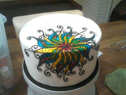 Geschilderde taart met royal icing, Mandala stijl