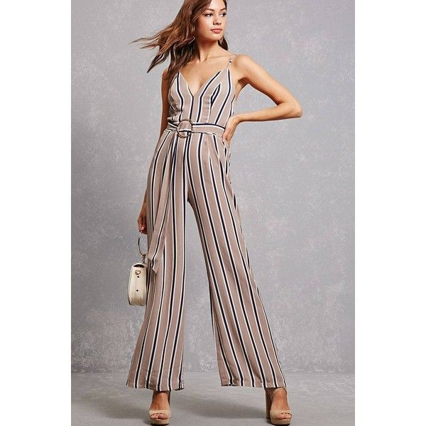 Forever21 Striped Palazzo Jumpsuit ($38) ❤ liked on Polyvore featuring jumpsuits, taupe, jump suit, polyester camisole, strappy jumpsuit, striped jumpsuit and strappy v neck cami