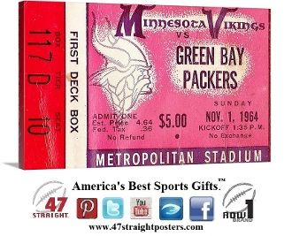 #fathersdaygifts #fathersday2015 #gifts #giftideas 1964 Minnesota Vikings ticket art. Row One Brand. Best Father's Day Gifts 2015. Father's Day sports gifts.