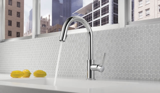 """Inspired by contemporary Scandinavian furniture, Solna's crisp lines and beautifully simple form deliver the sleekest Brizo kitchen to date. Both the kitchen and bar/prep models feature a completely new """"hidden"""" pull-down spray wand held in place with MagneDock™ Technology, allowing Solna to maintain its clean, modern form when the wand is docked"""