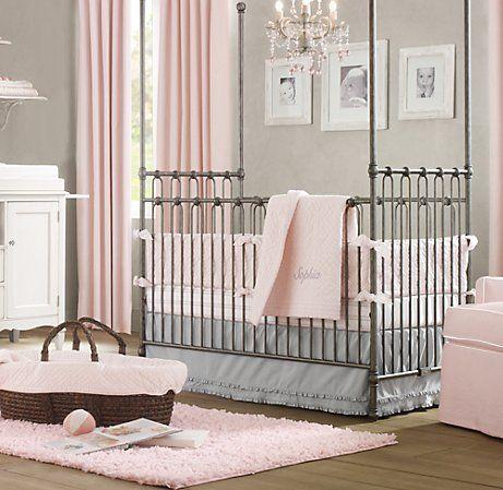 Gray & pink nursery....LOVE this  Restoration Hardware