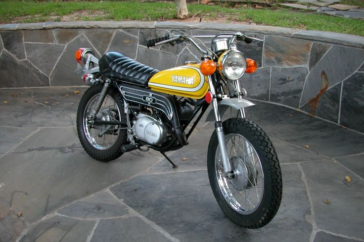 Yamaha GT80 80cc. This is a follow-up reiteration of the original and highly successful Yamaha mini enduro JT1 & JT2 60cc. The GT80 had a longer production run but is not nearly as sought after as the 60cc by collectors.