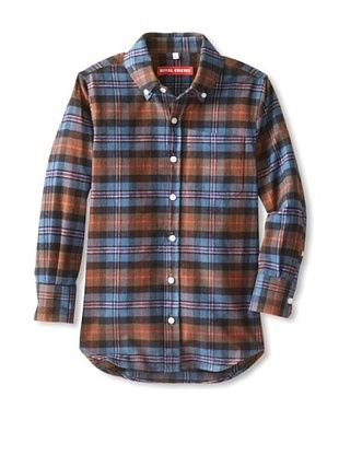 86% OFF Rival Crews Boy's The Flack Japanese Cotton Button-Up (Brown Plaid)