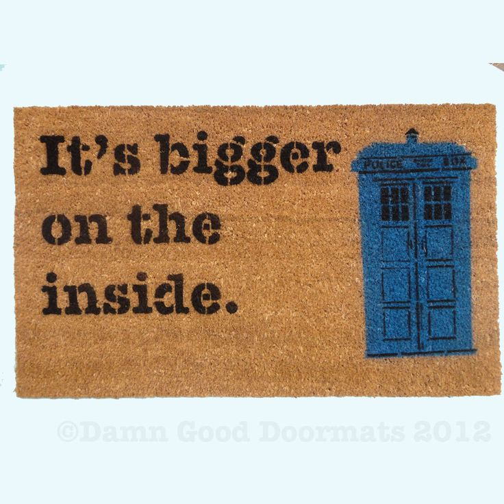 Text only bigger on the inside doormat funny geekery fan art doormat geek stuff dr who geek - Geeky doormats ...