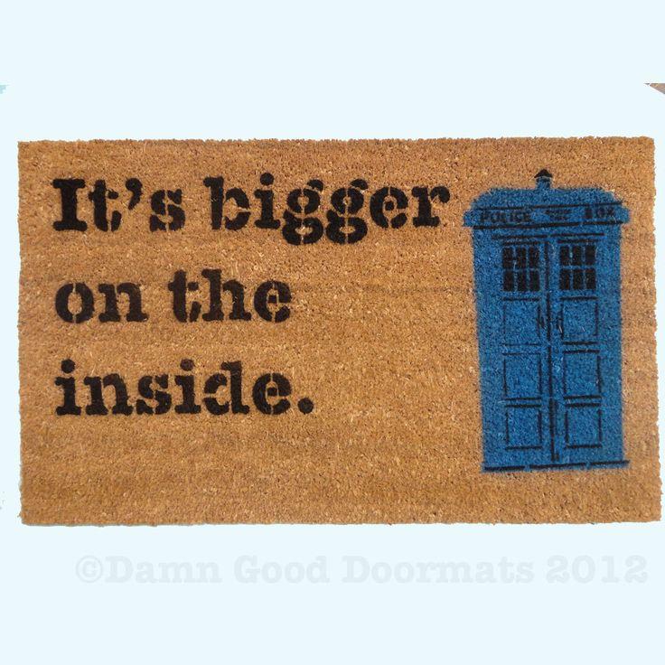 Text only bigger on the inside doormat funny geekery fan art doormat geek stuff dr who geek - Geeky doormats ...