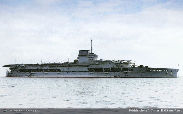 Broadside view of British aircraft carrier HMS Glorious, early version.