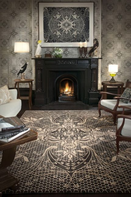 Catherine Martin Lace Rug.  We love this at LILY Magazine. Get the Gatsby look in your home with our story on Gatsby's Art Director and Costume Designer Catherine Martins collection with Mokum Textiles at  www.lifeandstyleonadime.com