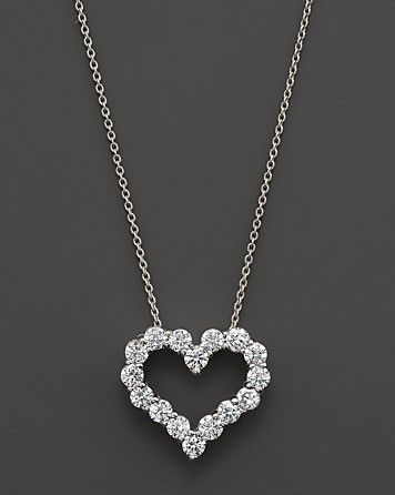 Diamond Heart Necklace in 14K White Gold...pinned by ♥ wootandhammy.com, thoughtful jewelry.