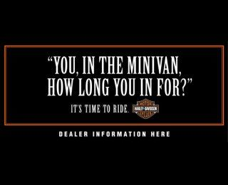 The Outdoor Advert titled MINIVAN was done by Carmichael Lynch advertising agency for product: Harley-davidson Motorcycles (brand: Harley-davidson) in United States. It was released in the Aug 2004.: Advertising Agency, Minis Vans, I Observed That The Agency, Minivan Harley Davidson, Minivan Harleydavidson, Harley Davidson Motorcycles, Outdoor Advert, Advert Title, Bike Stuff
