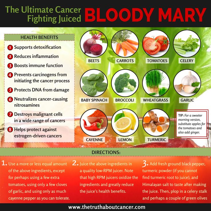 Looking for a potent and tasty juiced drink which contains some of the most potent cancer fighters on the planet? Try this alcohol-free Bloody Mary! The recipe is inside. Click through and find out more! Article by Tony Isaacs. Please re-pin to share with your family & friends! // The Truth About Cancer <3