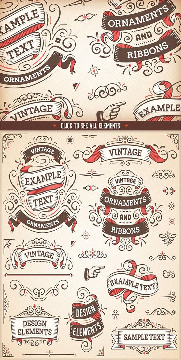 Vintage Design Elements In 2020 Vintage Graphic Design Design Elements Vintage Designs
