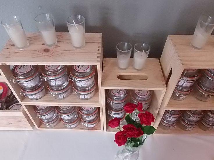 Tarritos cristal en cajas de madera
