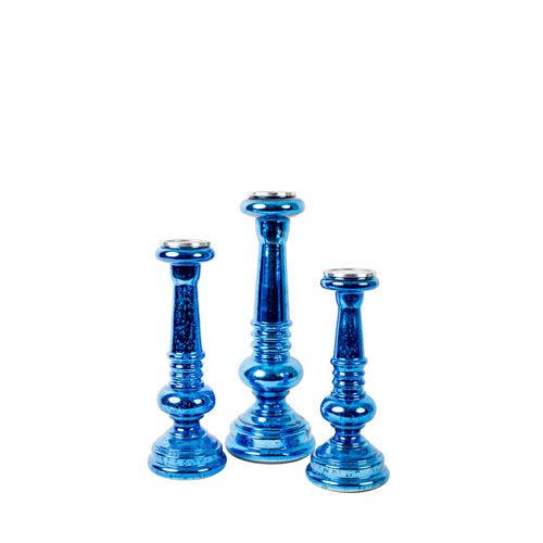 Blue Candle Holders, Set of Three