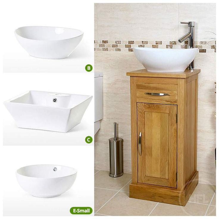 Compact Oak Cloakroom Vanity Unit with Basin Sink | Bathroom | Inspire - Click Image to Close
