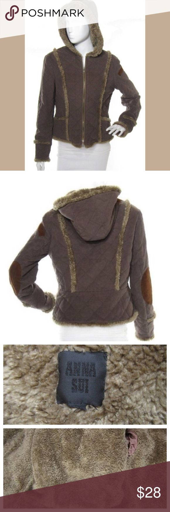 "Anna Sui Taupe Faux Sherpa Hoodie Jacket Anna Sui dark taupe quilted cotton faux shearling sherpa lined hooded jacket! Features a front zip closure, medium weight cotton body. Cozy warm faux shearling ""sherpa"" lining through the body and hood. Very good overall condition-gently used but still in great shape with a ton of life left. Tagged a size P (Petite), fits XS. **Smoke free home, additional measurements avail. upon request** Anna Sui Jackets & Coats"