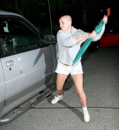 "Britney Spears not apologizing after an attack of the crazies:  ""I apologize to the pap for a stunt that was done 4 months ago regarding an umbrella,"" the pop star said on her blog about her infamous attack on a photographer's car during her bald days. ""I was preparing my character for a role in a movie where the husband never plays his part, so they switch places accidentally. I take all my roles very seriously and got a little carried away."" (yes, that's her)"