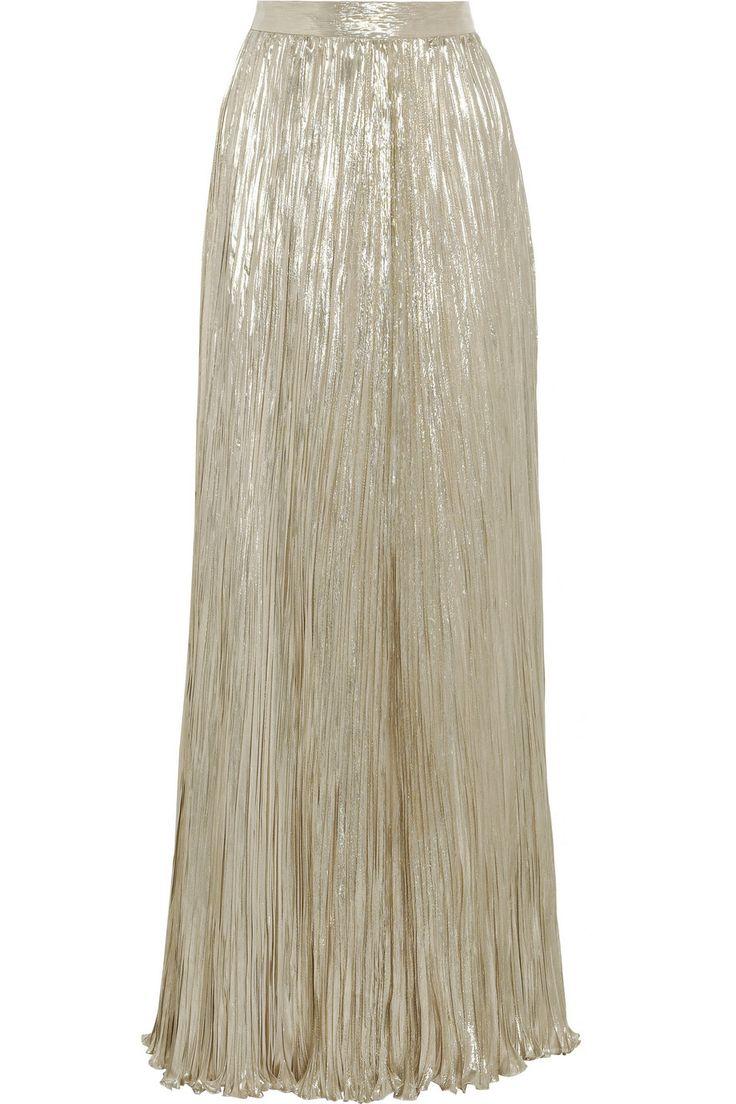 oscar de la renta pleated silk blend lam 233 maxi skirt