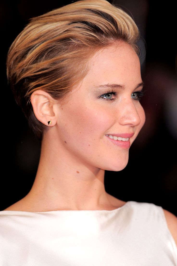 The Best Party Hairstyles For Short Hair #refinery29  http://www.refinery29.com/short-party-hairstyles#slide9  The Swept-Back Faux Updo Growing out a pixie cut is hard to do, and there are a lot of awkward stages involved. The best way to transition a pixie is to grow the front out first, but it's hard to look fancy when your bangs are covering your entire face. Jennifer Lawrence undoubtedly knows this struggle, since she mostly wore her hair in a swept-back style during its growing-out ...