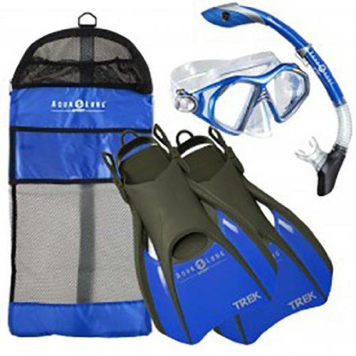 Aqua Lung Sport Admiral 2 LX, Island Dry LX & Trek Snorkeling Set Large Blue. Fins. Includes: Mask. Soft and comfortable foot pocket with adjustable strap. Aqua Lung Sport Admiral 2 LX Mask, Island Dry LX Snorkel & Trek Fin Set Admiral LX Two Lens Mask Silicone face skirt provides the ultimate comfort Tempered glass lens for safety Pinch & pull adjustable buckles Island Dry Flex Snorkel 100% submersible dry top with Pivot Dry Technology One-way purge valve Full flex section...