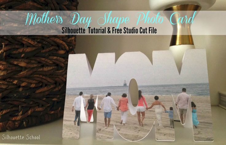 """Mother's Day Photo Shape """"MOM"""" Card (Free Studio File)"""