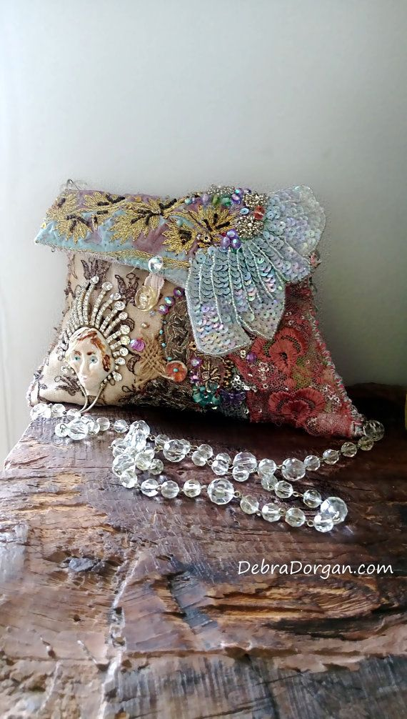 thedetails and artistry in the textile creations of Deb from All Things Pretty on Etsy are amazing, this very sparkly bohemian bag will be envied. Sparkly Queen Bag Porcelain Lady Beaded Vintage by AllThingsPretty