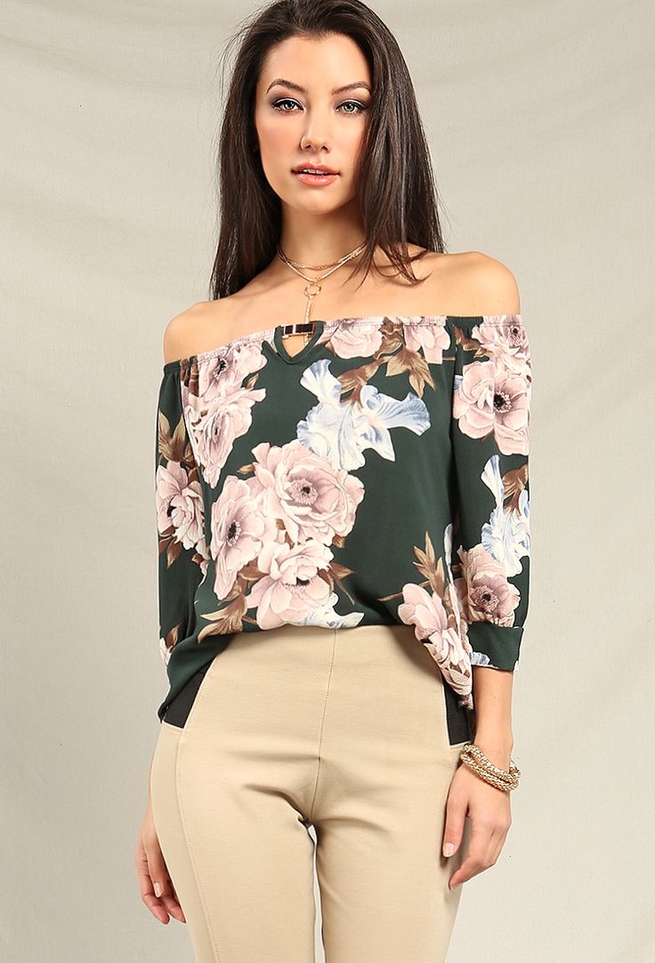 Floral Chiffon Off-The-Shoulder Top