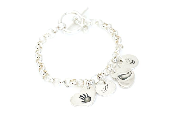 Two Handprint Heart Charms and Initial Charms on a Toggle Charm Bracelet