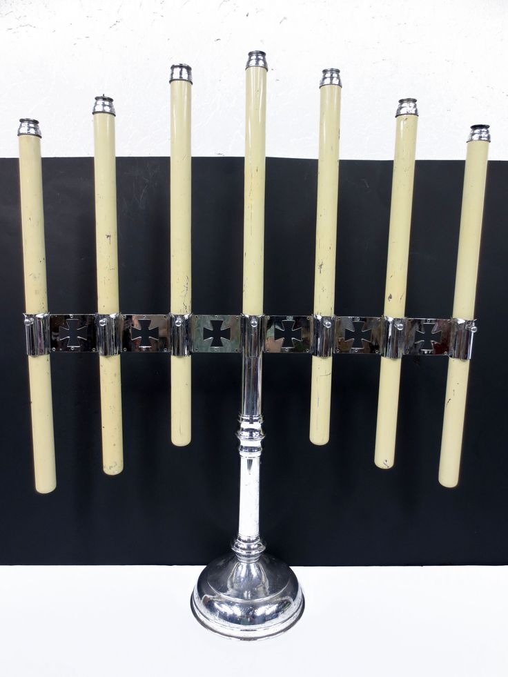 "Large 33"" Vintage Church Altar Candlestick Holder 7 Spring Brass Candles, Chrome"