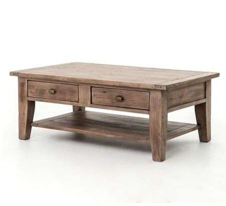 Coastal Solid Wood Coffee Table with Drawers