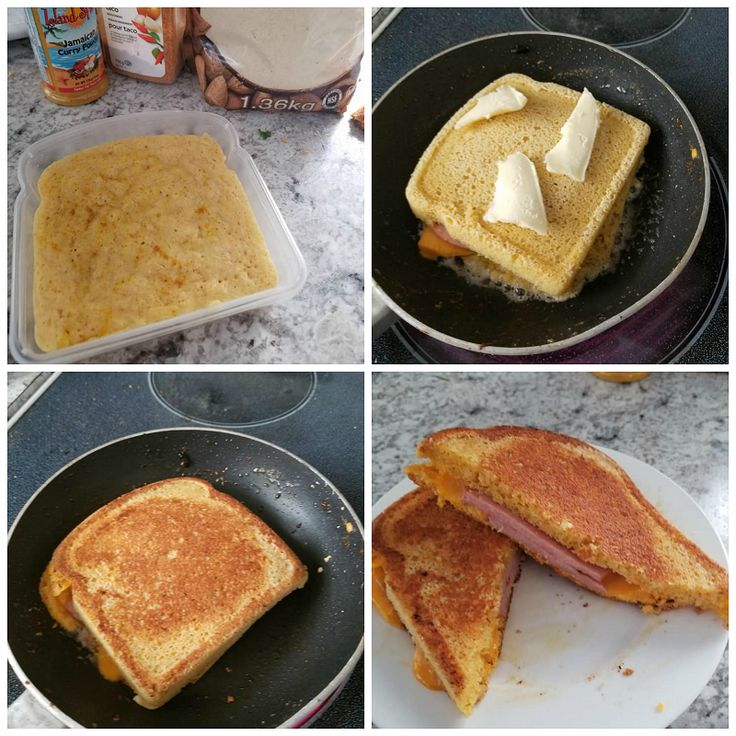 """If you're on a low carb or keto diet you must try this 90 second bread turned into a GRILLED CHEESE! This brilliant idea was made by Christina Kruger-Harris and was lovely to share with us! She said """"Soooo ladies here is a game changer! I made the coolest 90 keto mug bread in a …"""