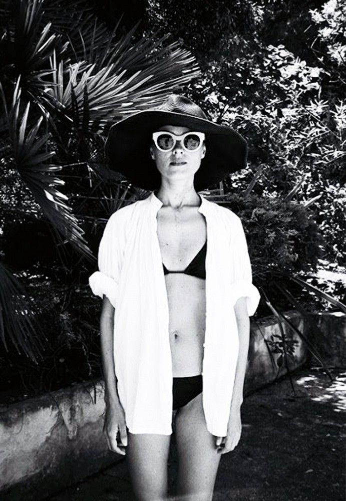 Poolside fashion: floppy hat and white sunglasses via Warby Parker