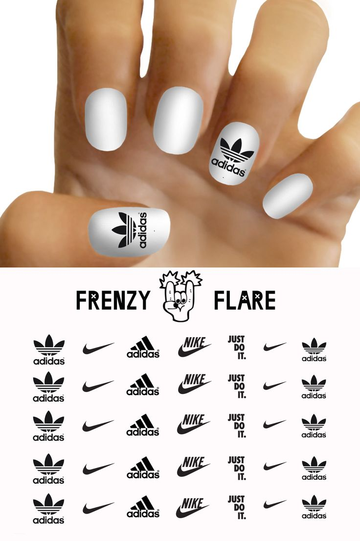 Adidas Nike Nail Decals for DIY nail art. Custom nail decals of your favorite brand. Made to order. Now you can match your nails with your sneakers and hit the gym in style. Package come in a cute pac
