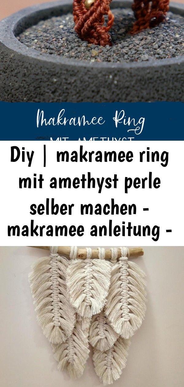 Diy | makramee ring mit amethyst perle selber machen