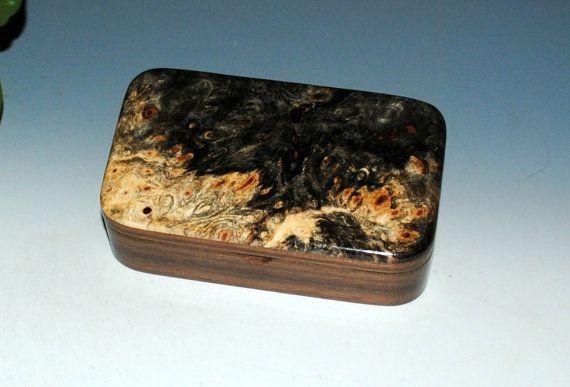 Small Wood Treasure Box - Buckeye Burl on Walnut - Handmade by BurlWoodBox - Trinket Box Keepsake BoxSmall Jewelry Box Small Wooden Box by BurlWoodBox