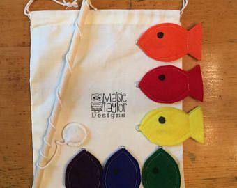Juguetes educativos para niños pequeños, juego de pesca magnética de fieltro, juego de pesca para niños, juguetes hechos a mano, juegos montessori, juguetes Waldorf, pescado azul y naranja