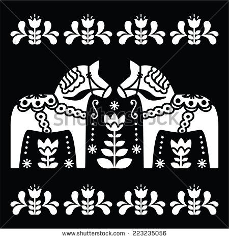 Swedish Dala or Daleclarian horse folk art pattern on black by Redkola #Sweden