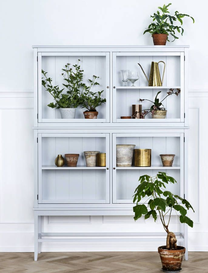 grey glass scandinavian cabinet for plant decor